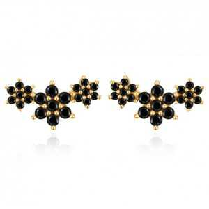 Gold-plated oorknoppen flower with black stones