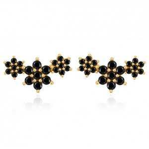 Goud vergulde oorknoppen bloemen met zwarte steentjes