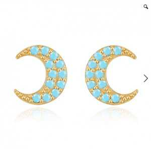 Gold-plated oorknoppen the moon with the Turquoise blue of the stones