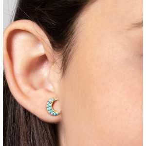 Goud vergulde oorknoppen maan met Turkoois blauwe  steentjes