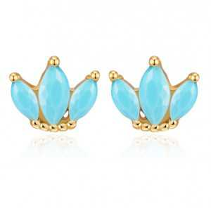 Gold-plated oorknoppen of three Turquoise blue stones