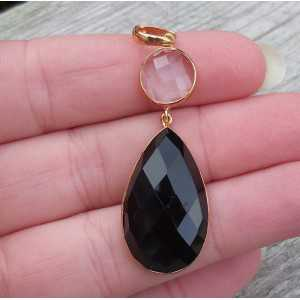 Gold-plated pendant set with black Onyx and white Topaz