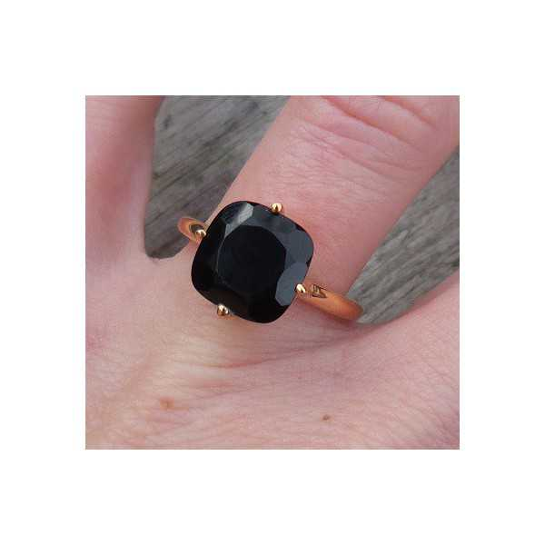 Gold plated ring with square Onyx size 17.3 mm