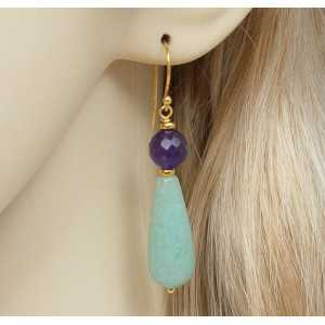 Gold plated earrings with Aventurine and Amethyst