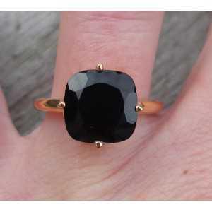 Vergoldet ring mit quadratischen Onyx Größe 17.3 mm