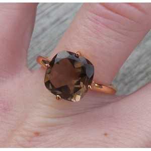 Vergoldet ring mit square Smokey Topaz 17.3 mm