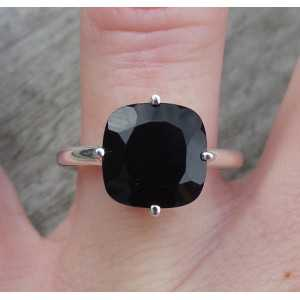 Silver ring set with square faceted black Onyx 17.3 mm