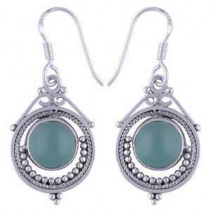 925 Sterling zilveren oorbellen met ronde aqua Chalcedoon