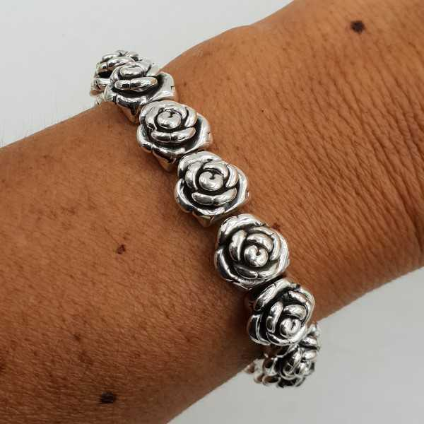 925 Sterling zilveren stretch armband roosjes