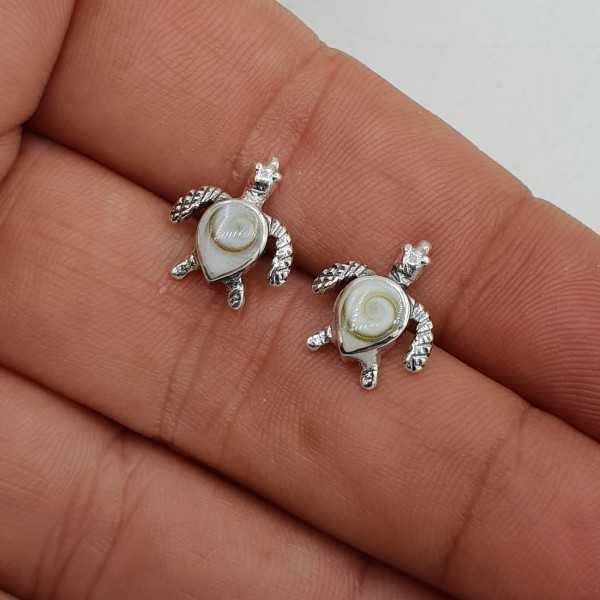 925 Sterling zilveren schildpad oorknopjes met Shiva schelp