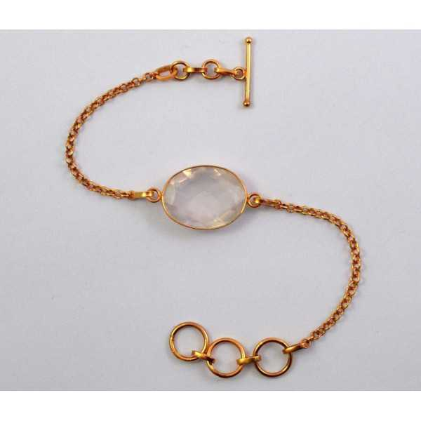 Gold plated bracelet with oval facet cut rose quartz
