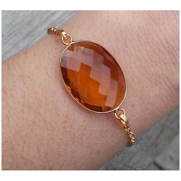 Gold plated bracelet set with oval facet Honey Topaz