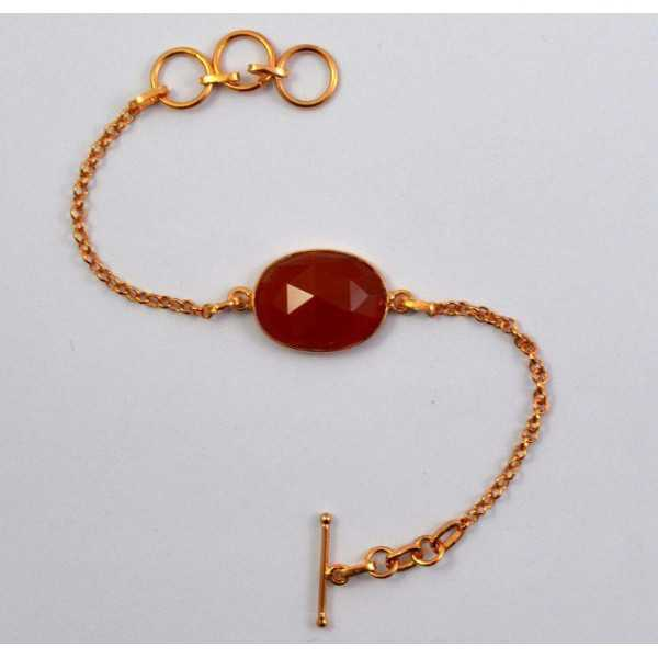 Gold plated bracelet set with oval facet cut Carnelian