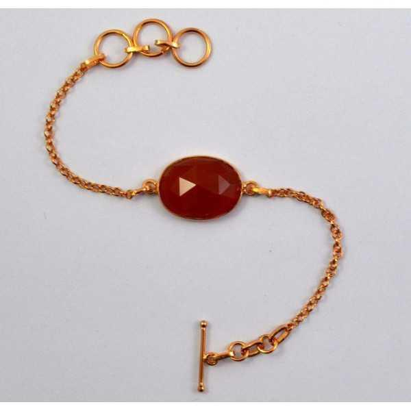 Vergulde armband gezet met ovale facet geslepen Carneool