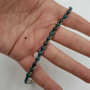 Zilveren armband gezet met zwarte Opalen