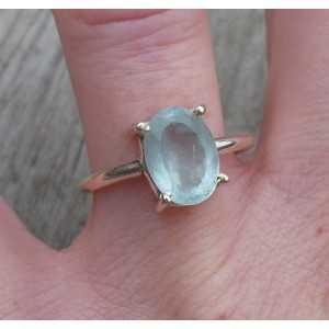 Silber ring set mit ovaler Facette Aquamarin 17.3 mm
