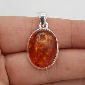 925 Sterling zilveren hanger met ovale Amber