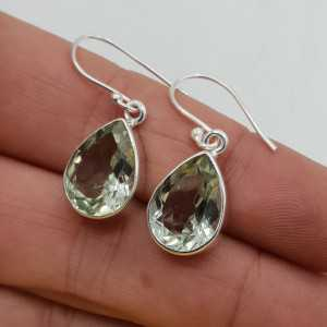 925 Sterling zilveren oorbellen met groene Amethist
