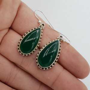 925 Sterling zilveren oorbellen met druppelvormige groene Onyx
