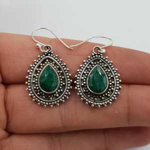 925 Sterling zilveren oorbellen met Emerald