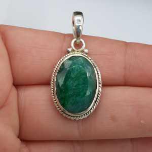 925 Sterling zilveren hanger ovale Emerald