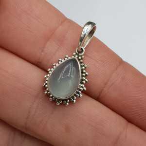 925 Sterling zilveren hanger met druppelvormige aqua Chalcedoon