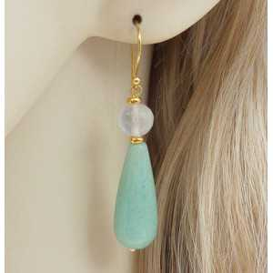 Gold plated earrings with Aventurine and rose quartz