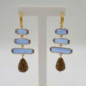 Goud vergulde oorbellen blauwe Kattenoog druppel van gouden kristallen