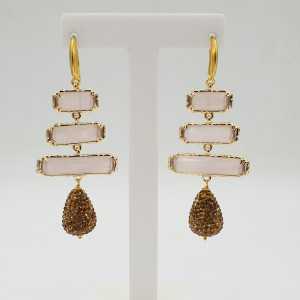 Goud vergulde oorbellen poeder roze Kattenoog druppel van gouden kristallen
