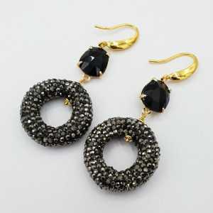 Goud vergulde oorbellen met zwarte Kattenoog en Kristallen