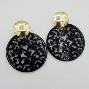 Goud vergulde oorbellen met ronde uitgesneden zwarte Buffelhoorn