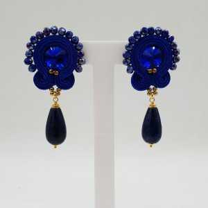 Goud vergulde oorbellen handgemaakte hanger met Lapis Lazuli
