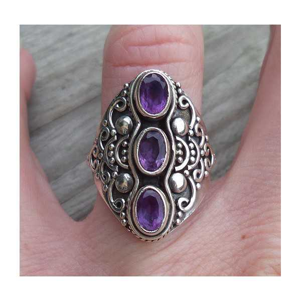 Silber ring set mit drei Facette Amethisten 17.3 mm