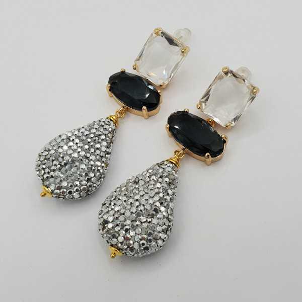 Goud vergulde oorbellen met kristal en druppel van zilveren kistallen