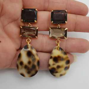 Goud vergulde oorbellen kristal en Cowrie