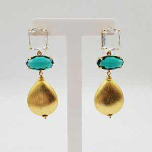 Goud vergulde oorbellen kristal en brushed druppel