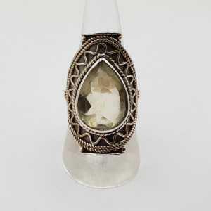 Zilveren edelsteen ring met druppelvormige Lemon Topaas 18 mm