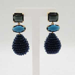 Goud vergulde oorbellen druppel blauwe kristallen en crystal