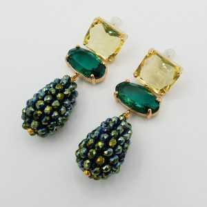 Goud vergulde oorbellen druppel metallic groene kristallen en crystal