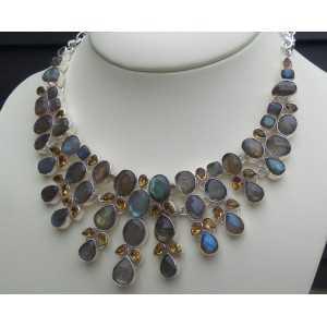 Silber Halskette set mit Facette Labrdoriet und Citrin