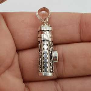 Zilveren parfumhanger / ashanger met ronde Granaat small
