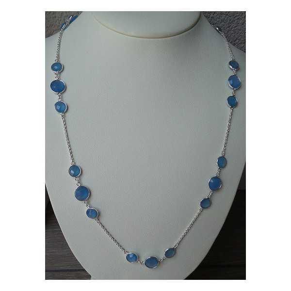 Silber Halskette-set mit Runden, facettierten blauen Chalcedon