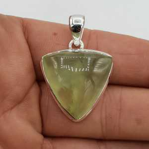 925 Sterling zilveren hanger gezet met driehoekige Prehniet