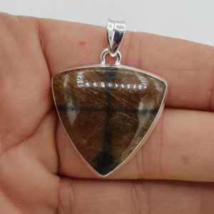 925 Sterling zilveren hanger met driehoekige Chiastoliet