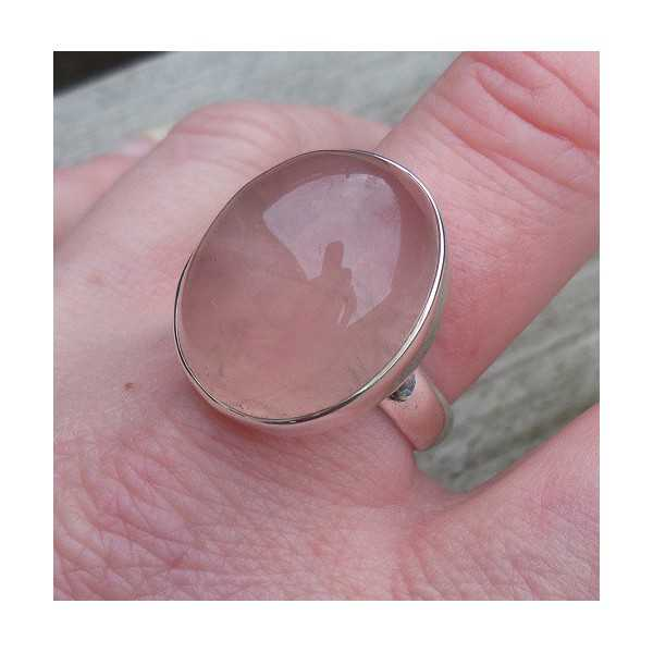 Silver ring with large oval rose quartz 18.5 mm