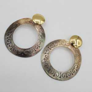 Goud vergulde oorbellen met open ring van Parelmoer