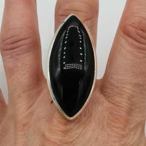 925 Sterling zilveren ring met grote marquise zwarte Onyx