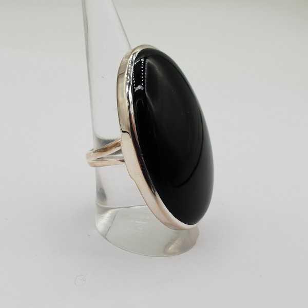 925 Sterling zilveren ring met grote brede ovale Onyx