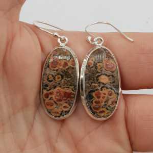 925 Sterling zilveren oorbellen met ovale Luipaard Jaspis