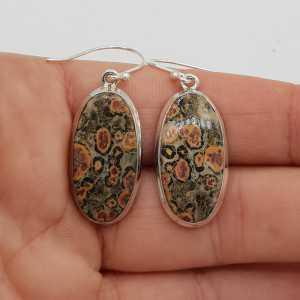 925 Sterling zilveren oorbellen gezet met ovale Luipaard Jaspis